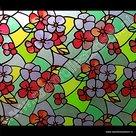 Statische raamfolie Bloemen rood 67,5cmx1,5m