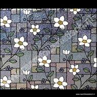 statische raamfolie bloemen glas in lood
